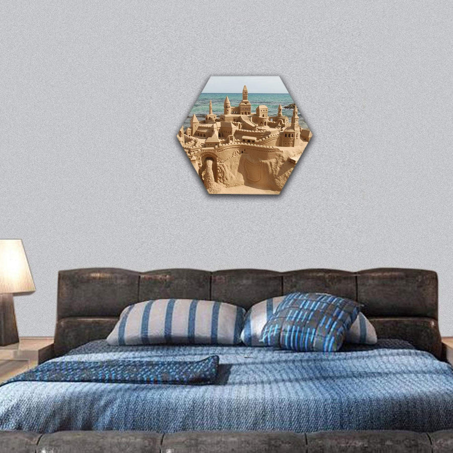 Amazing Sand Castle On A Mediterranean Beach Hexagonal Canvas Wall Art 7 Hexa / Small / Gallery Wrap Tiaracle