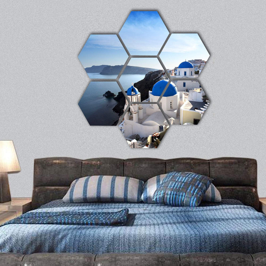 Amazing Santorini With Churches Hexagonal Canvas Wall Art 1 Hexa / Small / Gallery Wrap Tiaracle