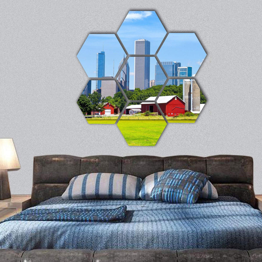 American Red Farm With Chicago Skyline Hexagonal Canvas Wall Art 1 Hexa / Small / Gallery Wrap Tiaracle