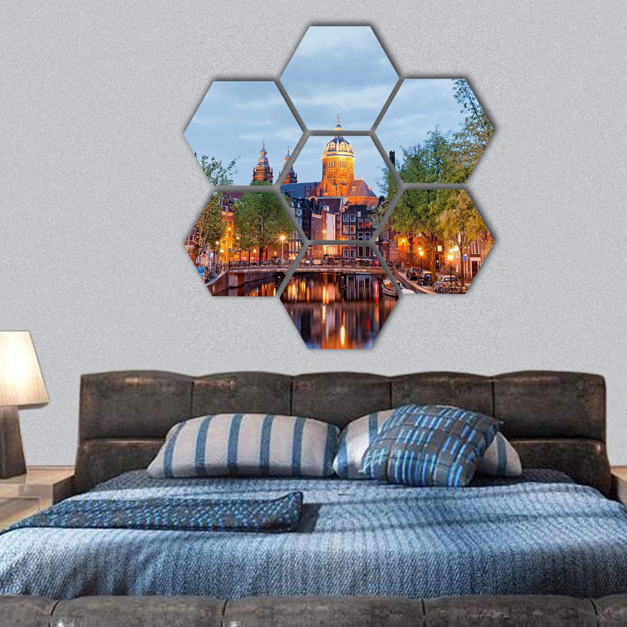 Amsterdam District At Dusk Hexagonal Canvas Wall Art Tiaracle