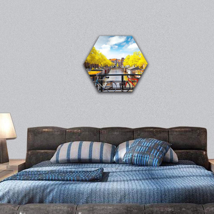 Amsterdam In Autumn Hexagonal Canvas Wall Art 7 Hexa / Small / Gallery Wrap Tiaracle