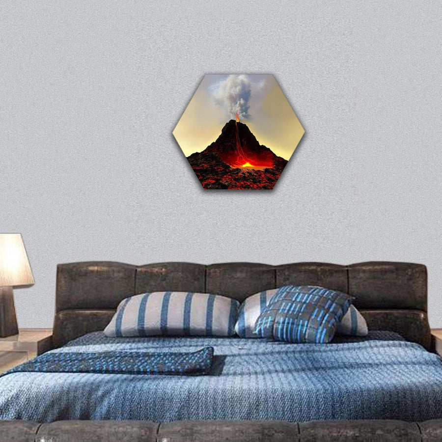 An Active Volcano Spews Out Hot Red Lava And Smoke Hexagonal Canvas Wall Art 7 Hexa / Small / Gallery Wrap Tiaracle