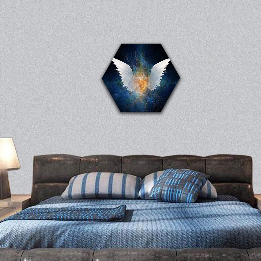 Angel Concept Hexagonal Canvas Wall Art 7 Hexa / Small / Gallery Wrap Tiaracle