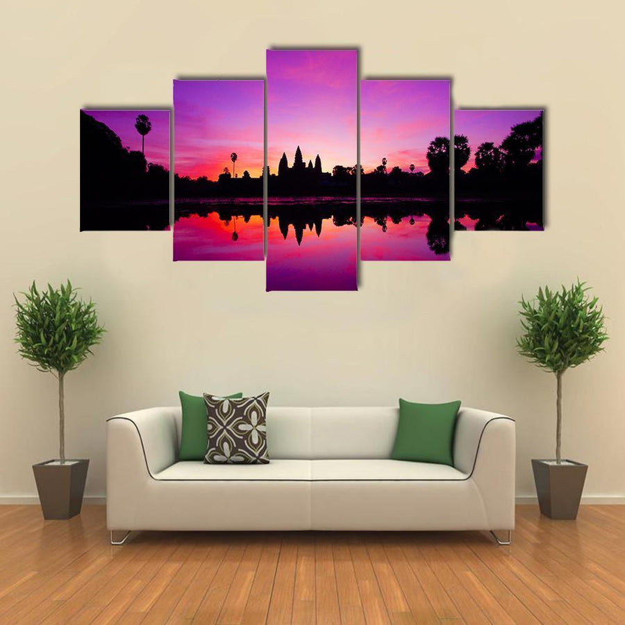 Angkor Wat Temple At Sunset Multi Panel Canvas Wall Art 5 Pieces(A) / Medium / Canvas Tiaracle