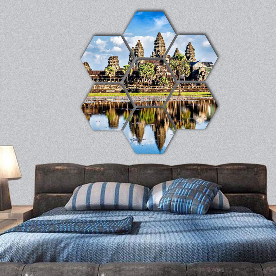 Angkor Wat Temple Hexagonal Canvas Wall Art 1 Hexa / Small / Gallery Wrap Tiaracle