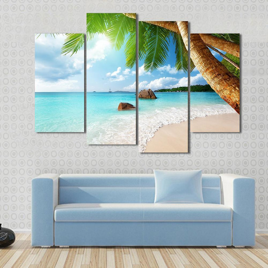 Anse Lazio Beach On Praslin Island In Seychelles Canvas Panel Painting Tiaracle