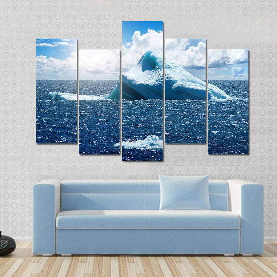 Antarctic Ice Island With Penguins In Atlantic Ocean Canvas Panel Painting Tiaracle