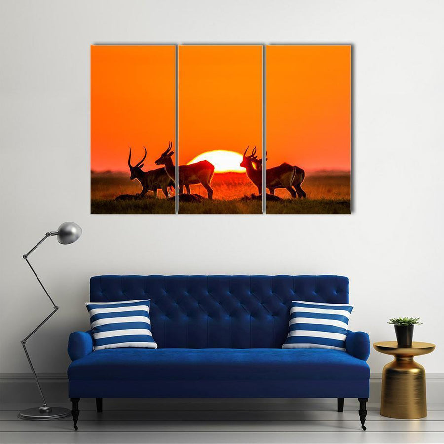 Antelope Atanding Against Sunrise Multi Panel Canvas Wall Art 4 Pieces / Medium / Canvas Tiaracle