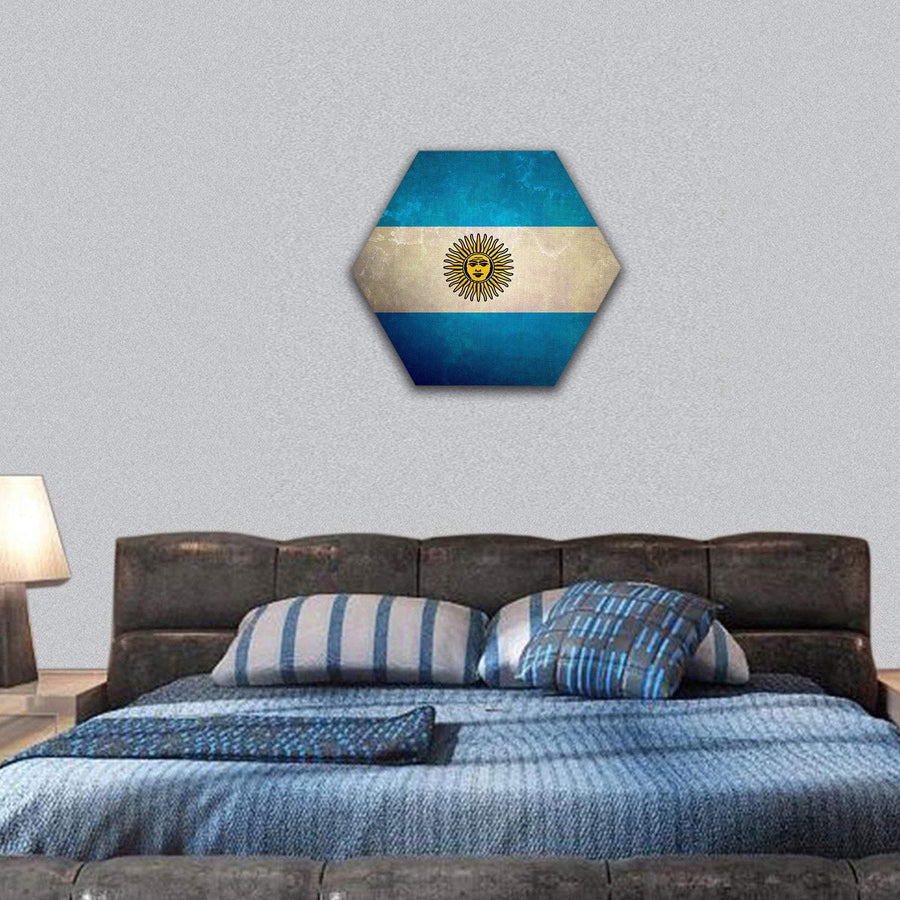 Argentina Flag On Old Grunge Texture Hexagonal Canvas Wall Art 7 Hexa / Small / Gallery Wrap Tiaracle