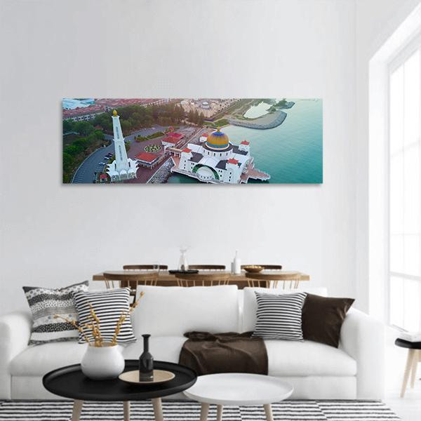 Arial View Of Malacca Straits Mosque Panoramic Canvas Wall Art 3 Piece / Small Tiaracle