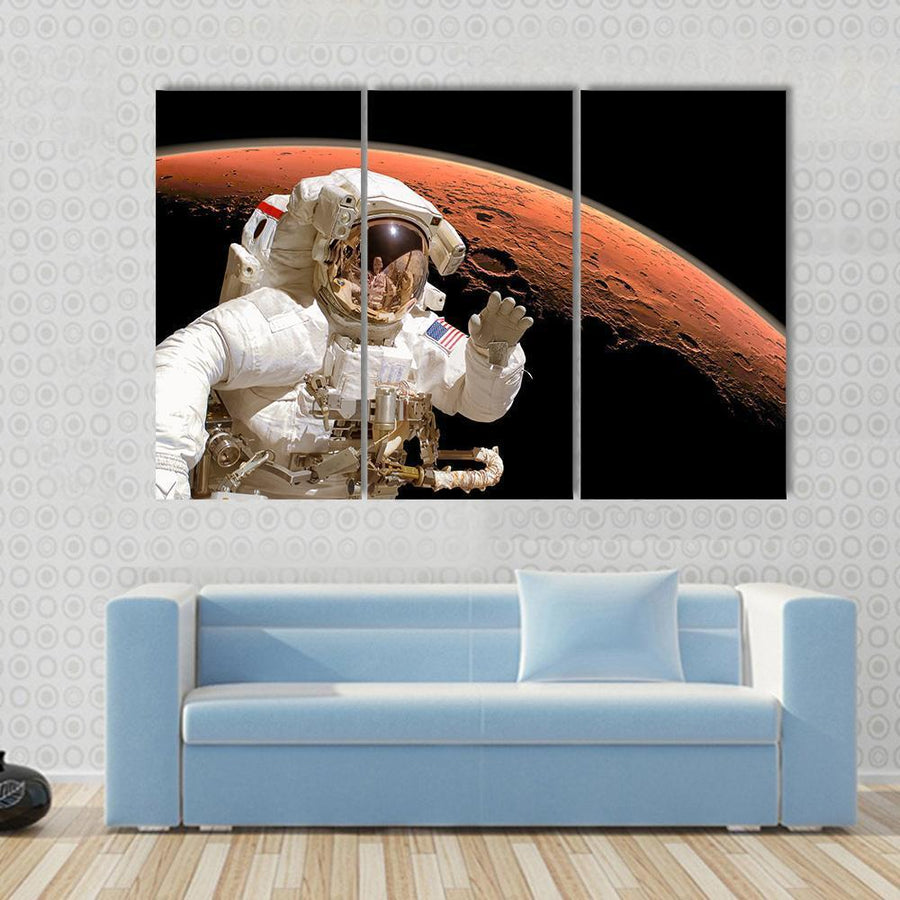 American Astronaut Above Mars Space Canvas Panel Painting Tiaracle