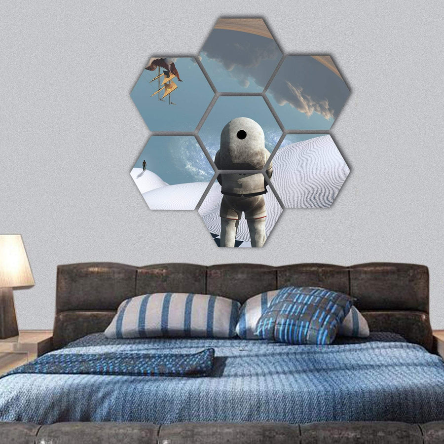 Astronaut In White Desert Hexagonal Canvas Wall Art 1 Hexa / Small / Gallery Wrap Tiaracle