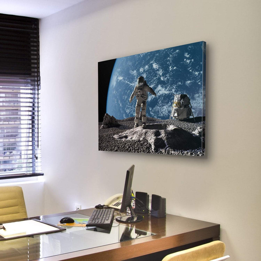 Astronaut On Asteroid Looking At Alien Planet Canvas Panel Painting Tiaracle
