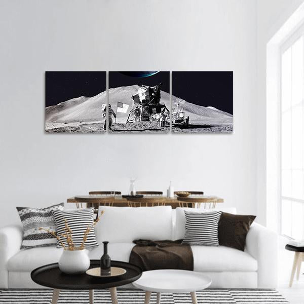 Astronaut On The Moon Panoramic Canvas Wall Art 1 Piece / Small Tiaracle