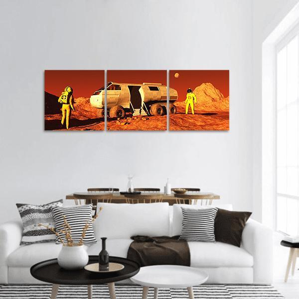 Astronaut With Mars Rover Panoramic Canvas Wall Art 1 Piece / Small Tiaracle