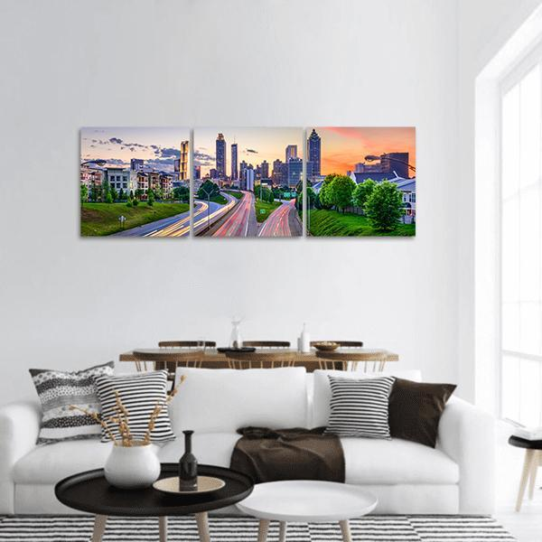 Atlanta Downtown City Skyline Panoramic Canvas Wall Art 1 Piece / Small Tiaracle