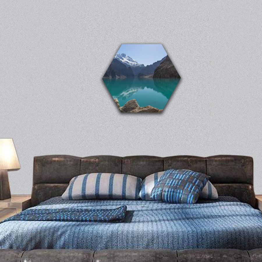 Attabad Lake In Gilgit Baltistan Pakistan Hexagonal Canvas Wall Art 7 Hexa / Small / Gallery Wrap Tiaracle