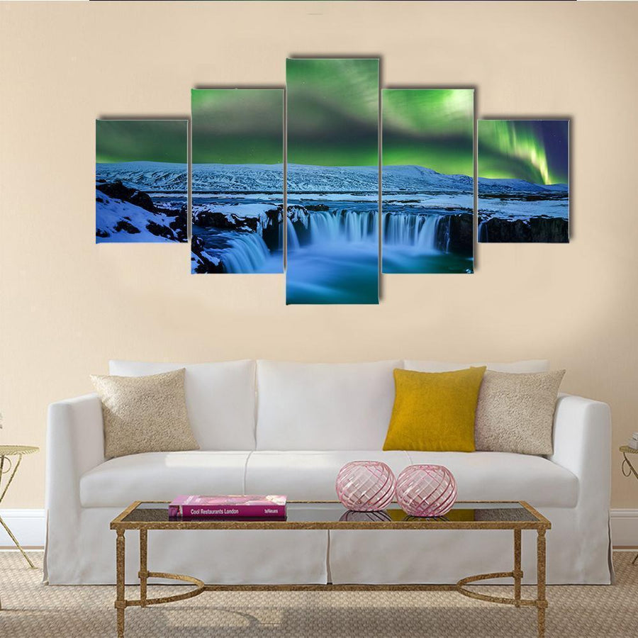Aurora borealis At Godafoss Waterfall Multi Panel Canvas Wall Art 3 Pieces / Medium / Canvas Tiaracle