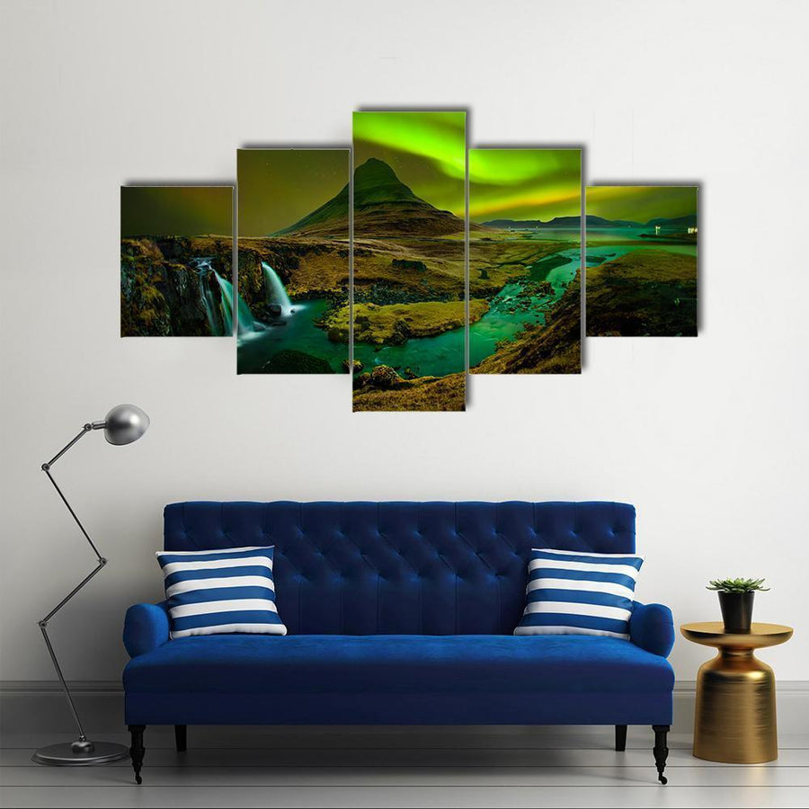 Aurora At Kirkjufell And Waterfall Canvas Panel Painting Tiaracle