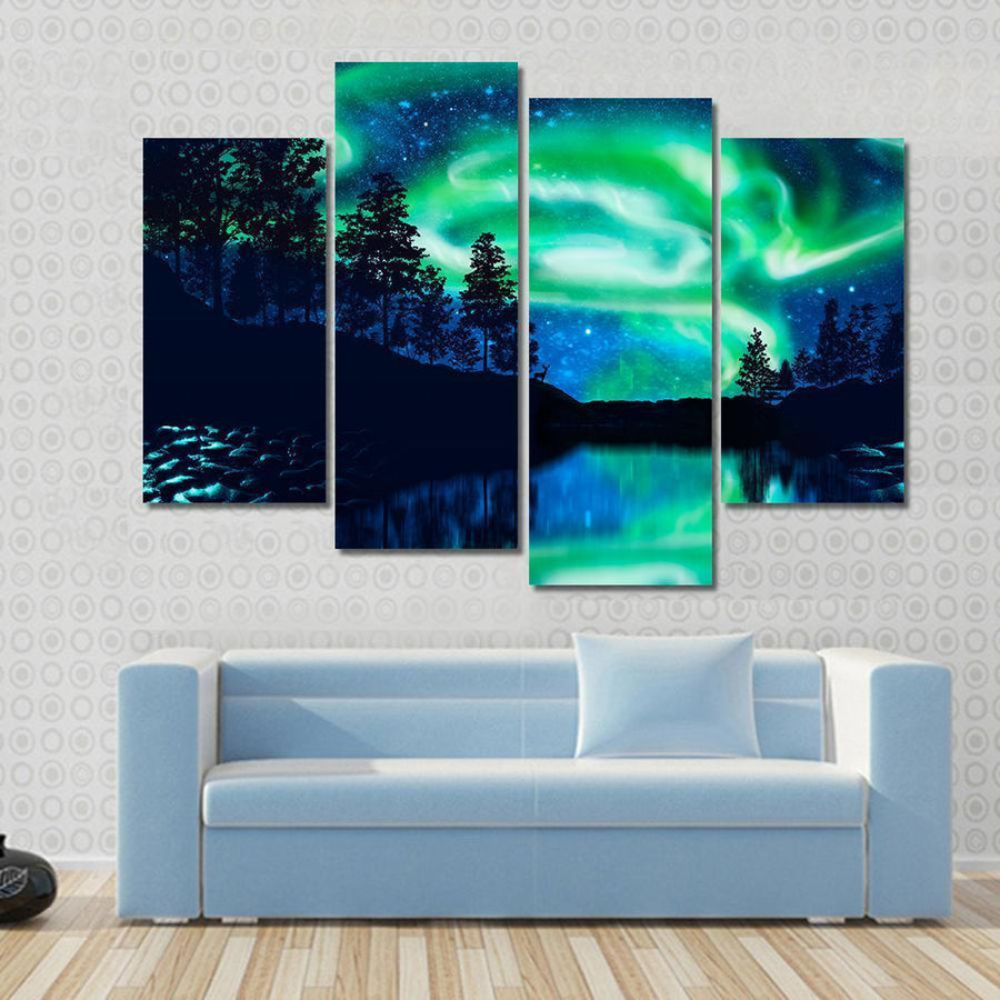 Aurora Borealis Above Lake Multi Panel Canvas Wall Art 3 Pieces / Small / Canvas Tiaracle