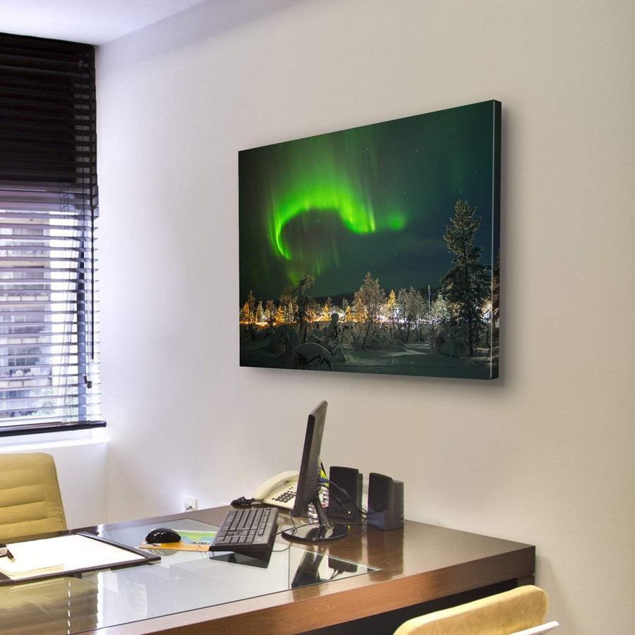 Aurora Borealis In Lapland Canvas Panel Painting Tiaracle