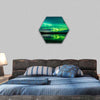 Aurora Show at Finnish Lake Hexagonal Canvas Wall Art-1 Hexa-Small-Gallery Wrap-Tiaracle