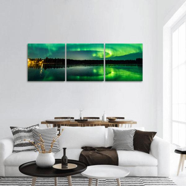 Aurora Show at Finnish Lake Panoramic Canvas Wall Art-1 Piece-Small-Tiaracle