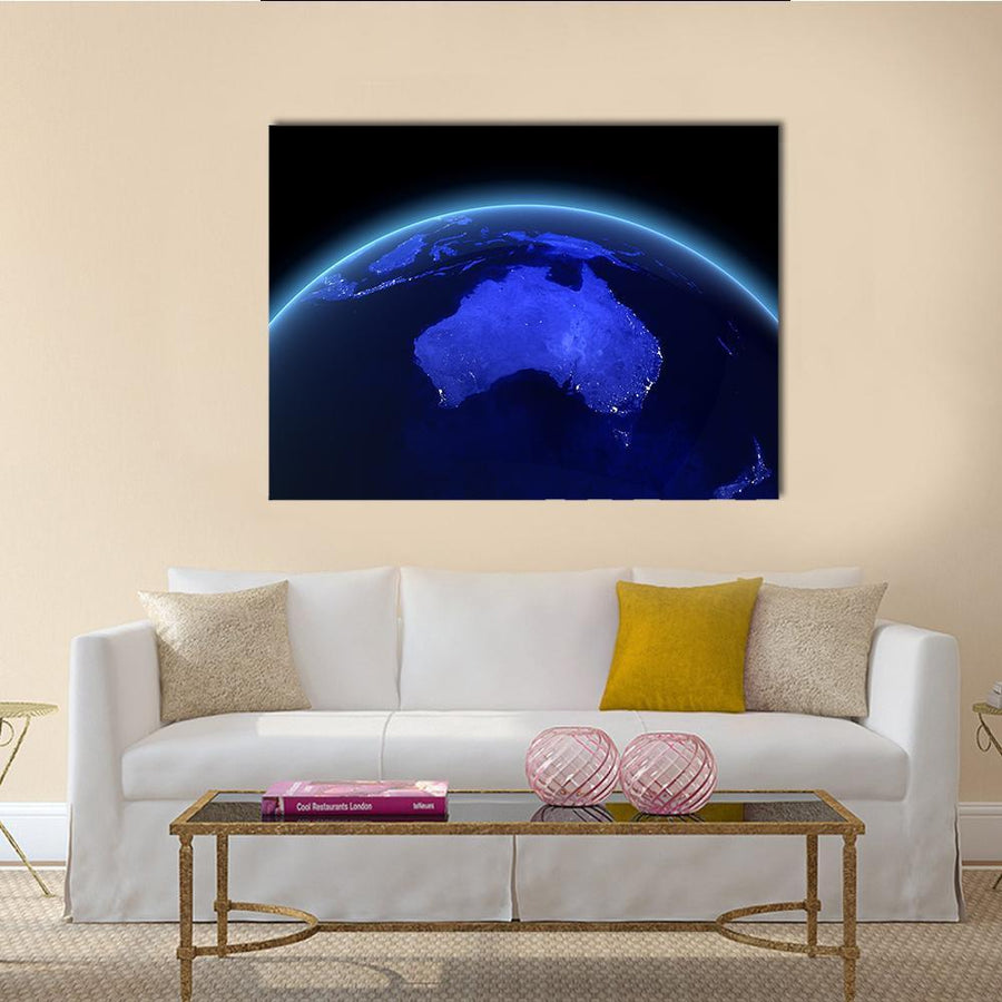 Australia And New Zealand Maps Multi Panel Canvas Wall Art 4 Horizontal / Small / Gallery Wrap Tiaracle