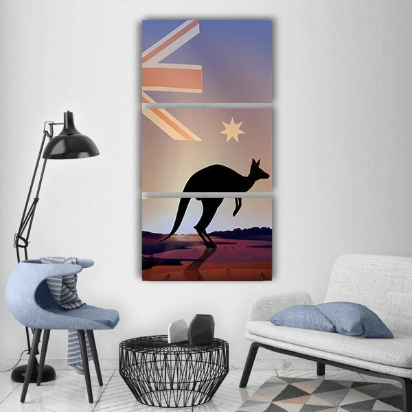 Australian Flag And Kangaroo Vertical Canvas Wall Art 1 Vertical / Small / Gallery Wrap Tiaracle