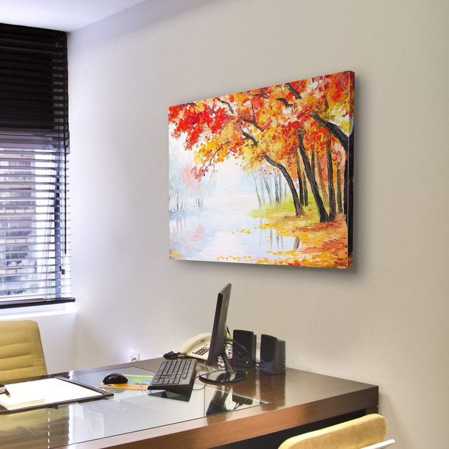 Autumn Forest Near The Lake, Orange Leaves Canvas Panel Painting Tiaracle