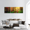 Autumn Forest Panoramic Canvas Wall Art 3 Piece / Small Tiaracle