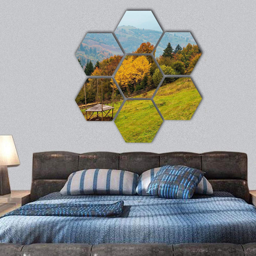 Autumn In Carpathian Mountains Landscape Hexagonal Canvas Wall Art 1 Hexa / Small / Gallery Wrap Tiaracle