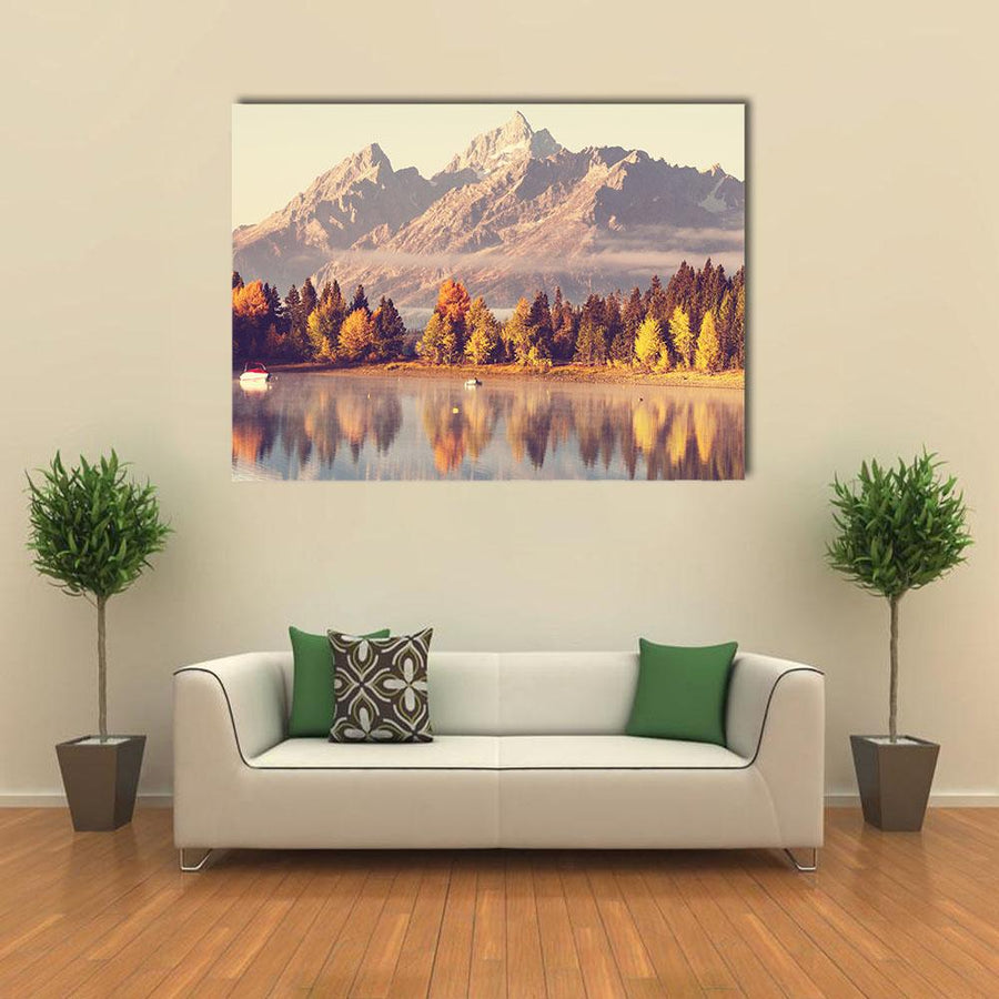 Autumn In Grand Teton National Park Multi Panel Canvas Wall Art 3 Horizontal / Small / Gallery Wrap Tiaracle