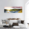 Autumn Landscape With Sunset Over River Panoramic Canvas Wall Art 1 Piece / Small Tiaracle