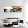 Autumn Landscape With Sunset Over River Panoramic Canvas Wall Art 3 Piece / Small Tiaracle