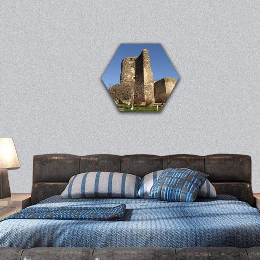 Baku Maiden Tower In Azerbaijan Hexagonal Canvas Wall Art 7 Hexa / Small / Gallery Wrap Tiaracle