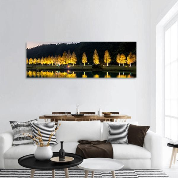 Bald Cypress Trees In Taiwan Panoramic Canvas Wall Art 3 Piece / Small Tiaracle