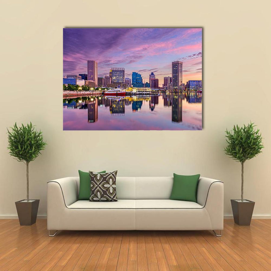 Baltimore Maryland USA Skyline Multi Panel Canvas Wall Art 5 Pieces(B) / Medium / Canvas Tiaracle