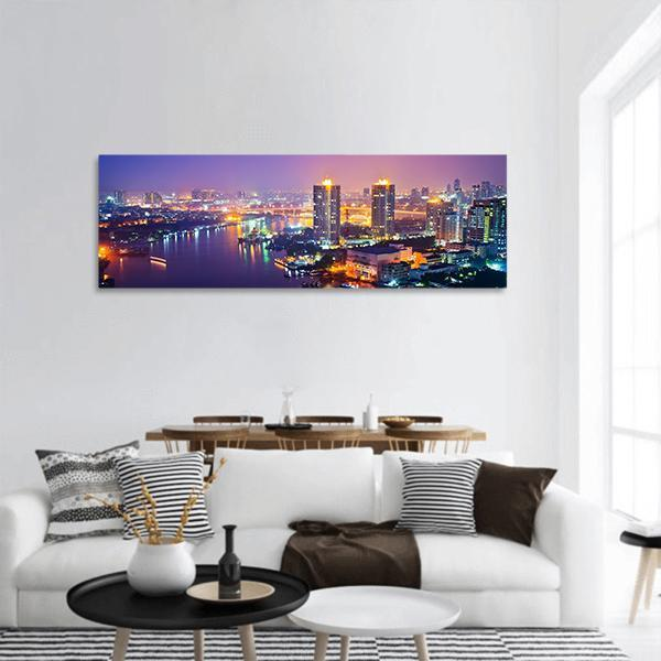 Bangkok Cityscape At Night Time Panoramic Canvas Wall Art 3 Piece / Small Tiaracle