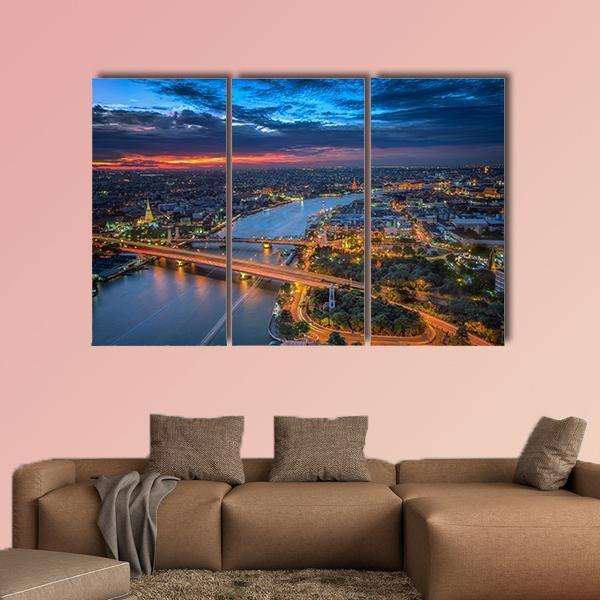 Bangkok Highlight View Multi Panel Canvas Wall Art 1 Piece / Medium / Gallery Wrap Tiaracle