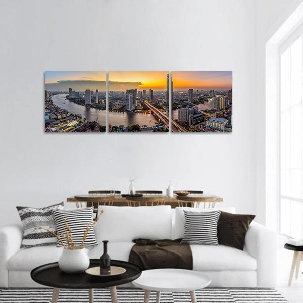 Bangkok Modern Business District At Dusk Panoramic Canvas Wall Art 1 Piece / Small Tiaracle