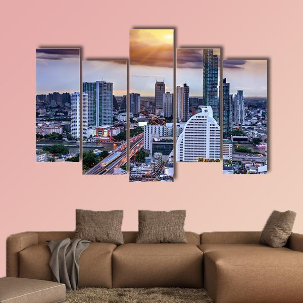 Bangkok View On Storm And Raining Background Multi Panel Canvas Wall Art 5 Pop / Medium / Gallery Wrap Tiaracle