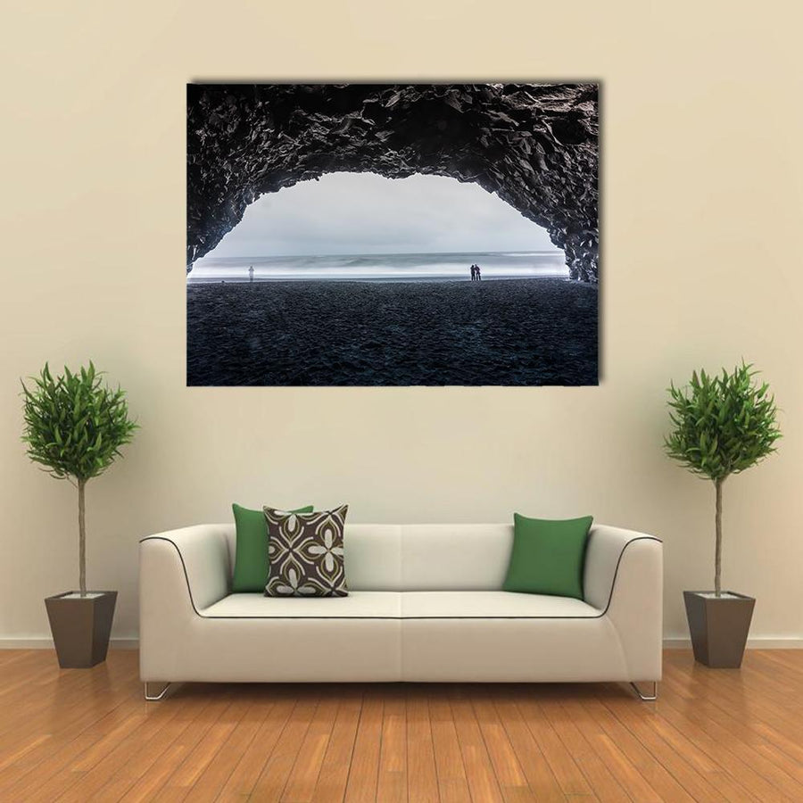 Basalt Cave At Reynisfjara Beach Canvas Panel Painting Tiaracle