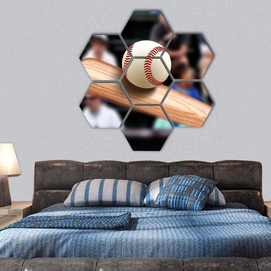 Baseball Bat Hitting Ball Hexagonal Canvas Wall Art 1 Hexa / Small / Gallery Wrap Tiaracle