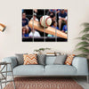 Baseball Bat Hitting Ball Multi Panel Canvas Wall Art-4 Horizontal-Small-Gallery Wrap-Tiaracle