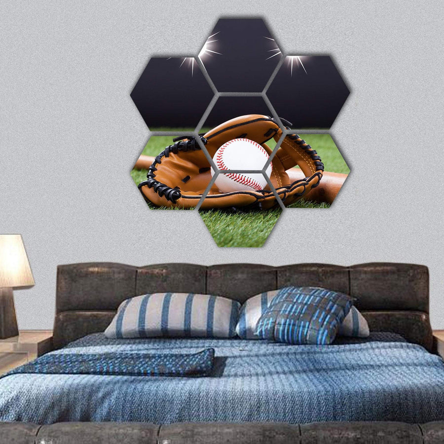Baseball Equipment Hexagonal Canvas Wall Art Tiaracle