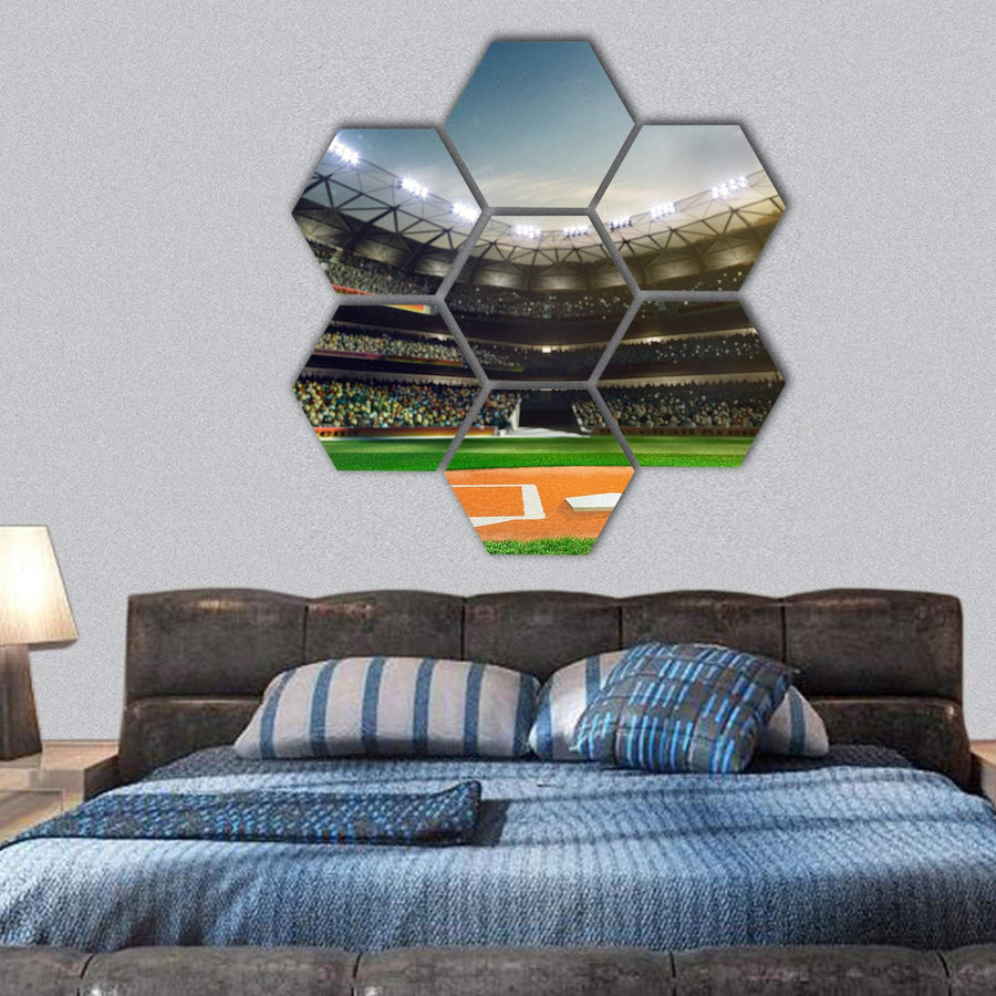Baseball Grand Arena Hexagonal Canvas Wall Art 1 Hexa / Small / Gallery Wrap Tiaracle