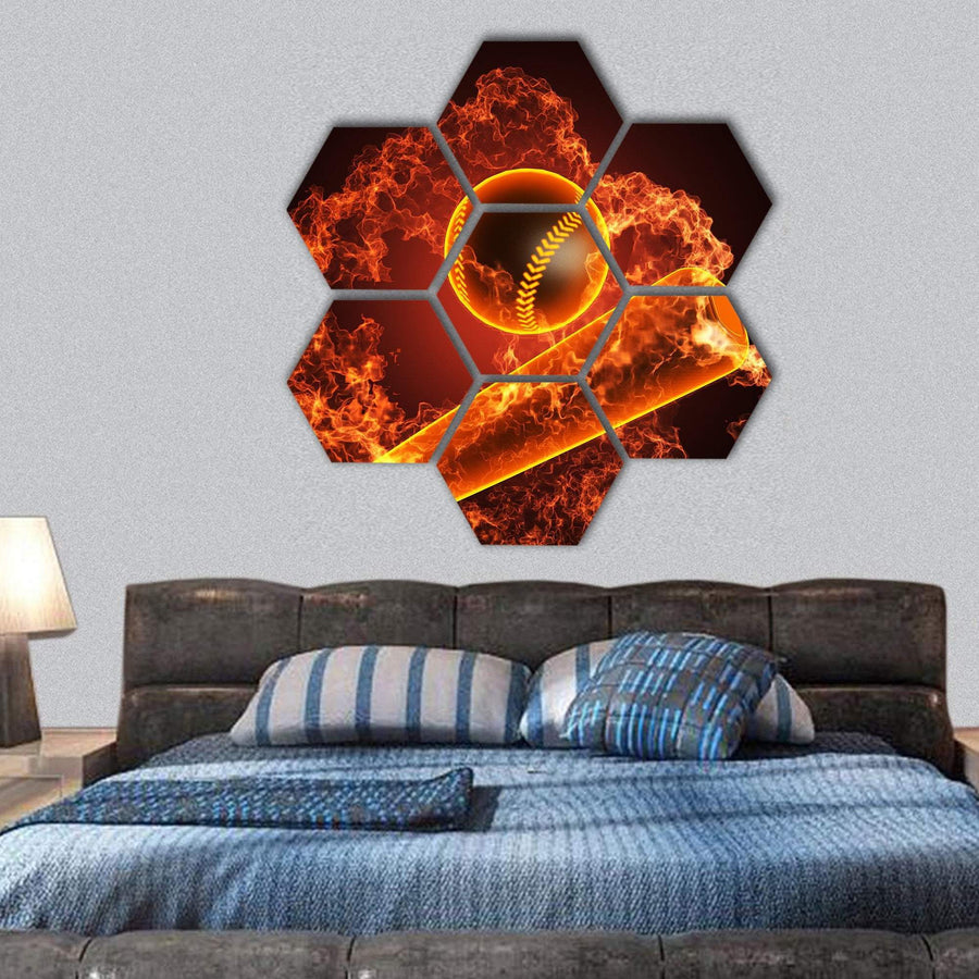 Baseball In Fire Hexagonal Canvas Wall Art 1 Hexa / Small / Gallery Wrap Tiaracle