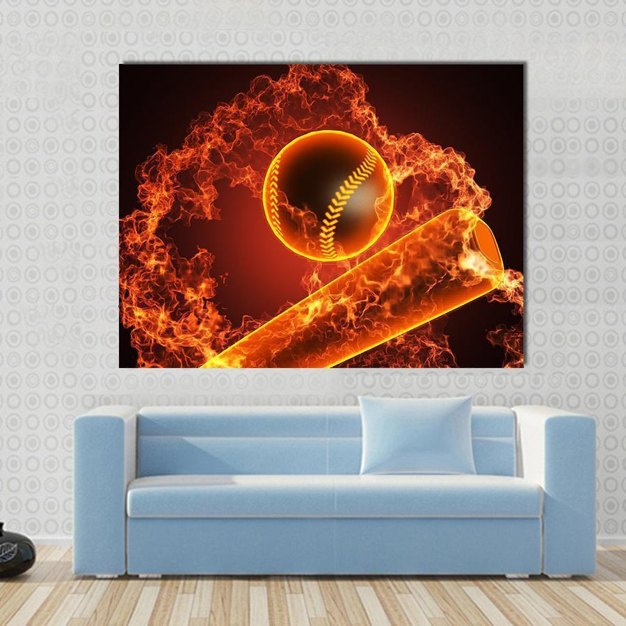 Baseball In Fire Multi Panel Canvas Wall Art 4 Horizontal / Small / Gallery Wrap Tiaracle