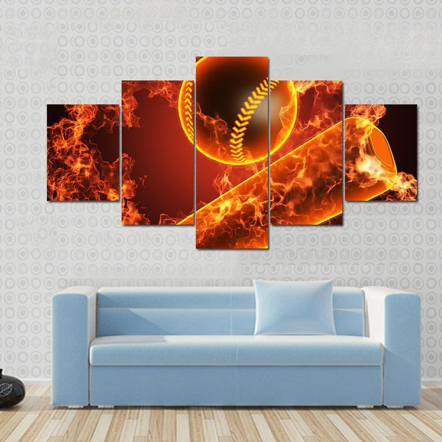 Baseball In Fire Canvas Panel Painting Tiaracle